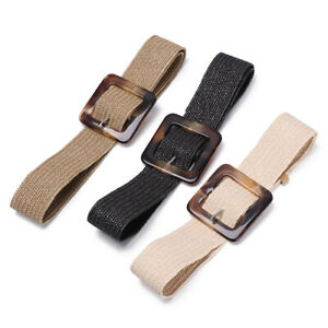 Women Elastic Casual Square Wooden Buckle Straw Belt Braided Woven Waistband