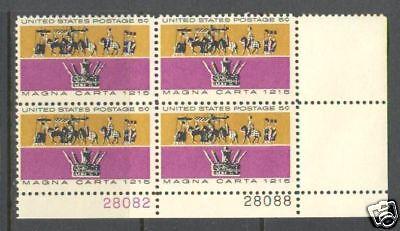 AnpassungsfäHig Us Usa Sc # 1265 Mnh Fvf Platte # Block Magna Carta King John Krone Horse Briefmarken Usa