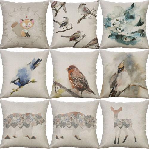 Cotton Linen Printing bird Deer Fish Animal Pillow Case Cushion Home Décor Cover