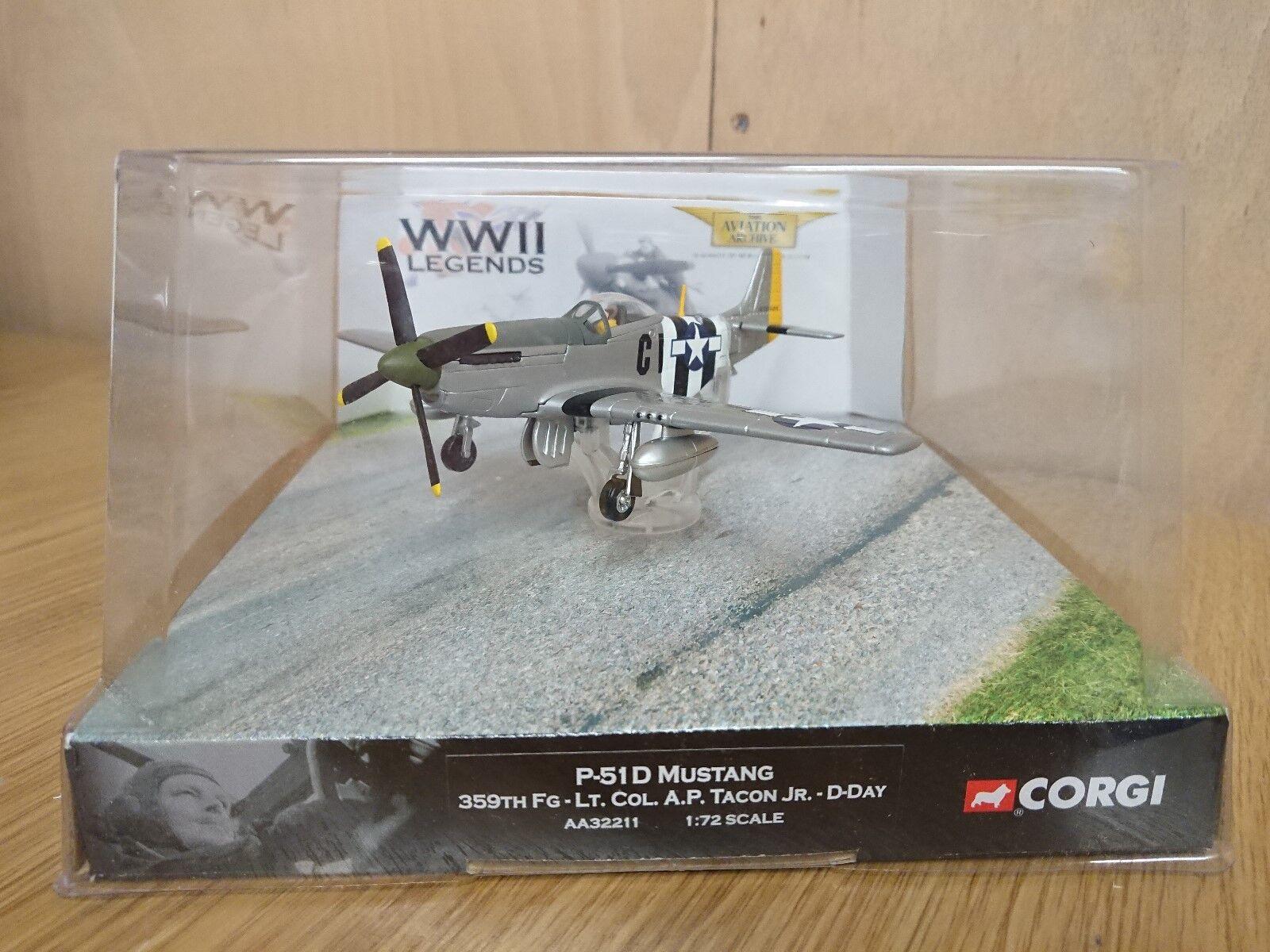 Corgi AA32211 leyendas de la segunda guerra mundial P-51D Mustang 359th FG Lt. Col. A.P. control táctico Jr. día D