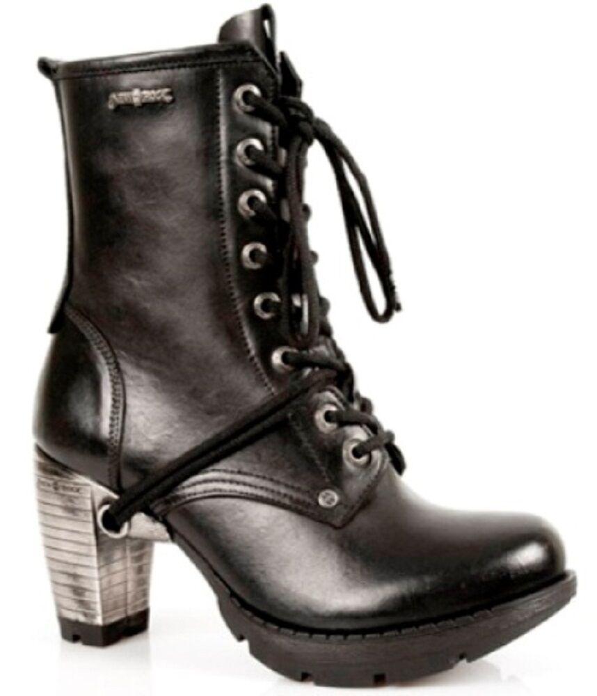 New Rock Tr001-s1 Damen Lauf Schwarz 100% Leder Gotischer Punk Schnürstiefel