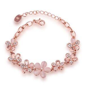 Fashion-Women-Charm-Rose-Gold-Plated-Chain-Opal-Flower-Bracelet-Brangle-Gift