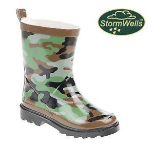 STORMWELLS-CAMOUFLAGE-Wellington-Boots-Kids-Childrens-Boys-Camo-Print-Wellies