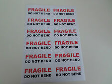 12   FRAGILE   DO NOT BEND  RED /BLACK   LABELS LARGE  STICKERS PER A4 SHEET