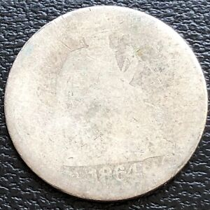 1864 S Seated Liberty Dime 10c Circulated  #31187