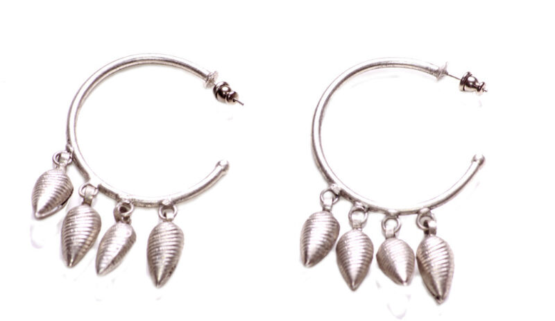 Gorgeous Antique Silver Cones Embellished & Round Metal Hoop Earrings(zx273)