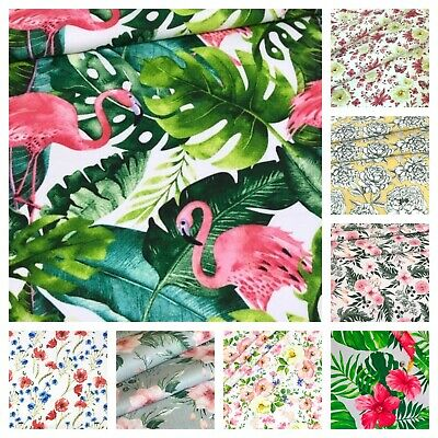 Wild rose twig on grey 100/%cotton fabric floral design 160cm wide