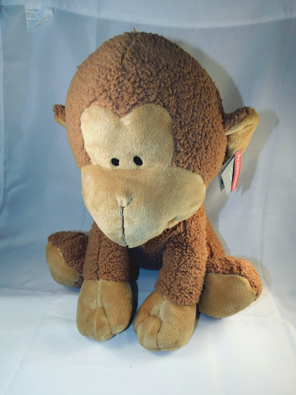 FAO Schwarz Sidne  Large Siting Monkey Braun Sherpa Stuffed Toy Animal