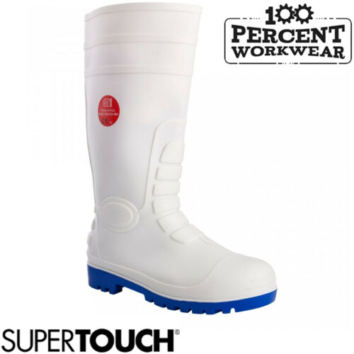 Abattoir Butchers Fisheries White PVC Safety Wellington Boots Wellies Toe Cap