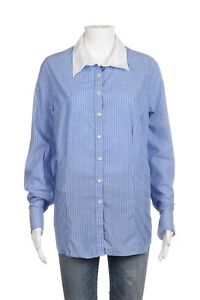 f0af33b9 VAN HEUSEN Button Down Shirt Women's XL Blue White Stripe Fitted Top ...