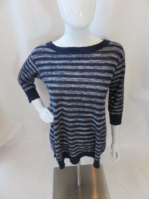 PURE DKNY bluee and White Striped Linen Sweater Size S