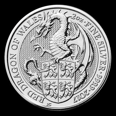 2017 2 oz Pure Silver Queen/'s Beasts RED DRAGON OF WALES BU