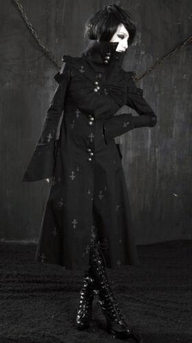 Manteau long gothique punk lolita col montant manches camisole crucifix PunkRave
