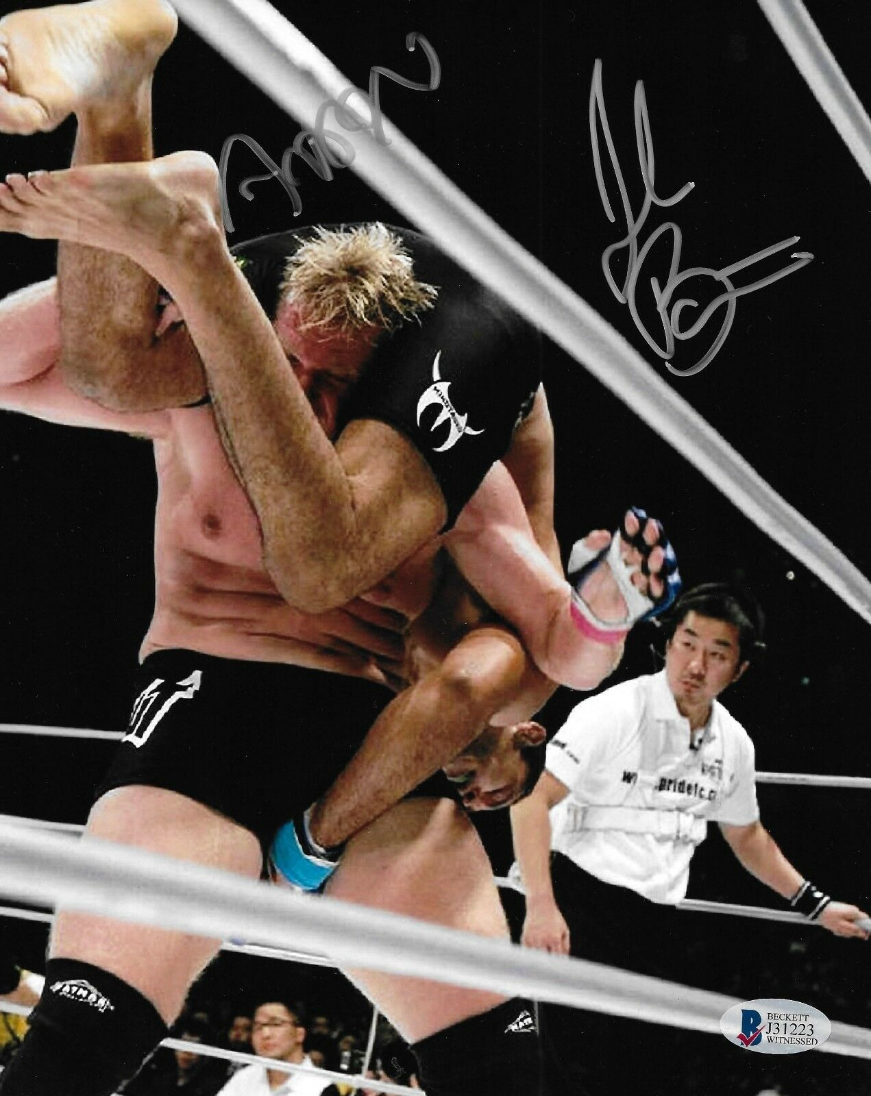 Josh Barnett & Antonio Rodrigo Nogueira Firmado 8x10 Foto Bas COA UFC Pride FC 2