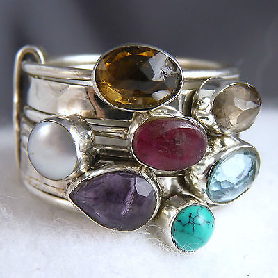 STACK 7 Rings SILVERSARI Size US 7 (O) Solid 925 Sterling Silver & MULTIGEM