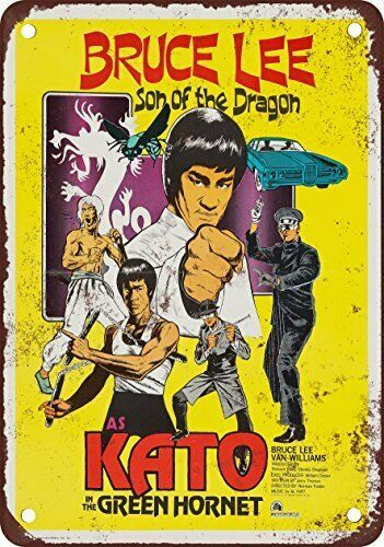 1974 Bruce Lee as Kato in the Green Hornet Reproduction Metal Sign 8 x 12
