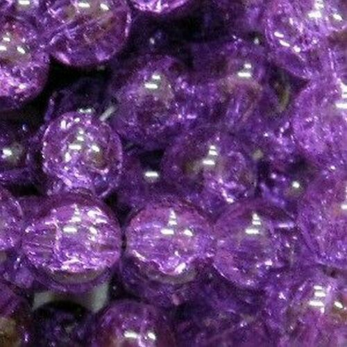 100 x Deep Purple Crackle Glass Beads K1811-8mm