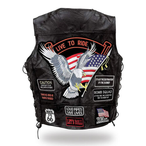 """S M L XL XXXL XXXXL XXXXXXL 7XL Gilet jacket en Cuir /"""" Aigle Live To Ride /"""""""