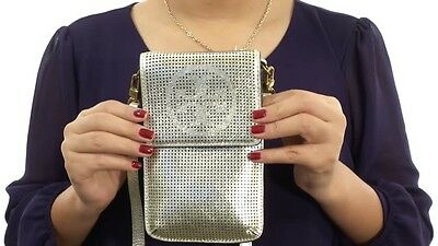 NWT TORY BURCH PERFORATED LOGO METALLIC PHONE CROSSBODY GOLD SOLD OUT ONLINE