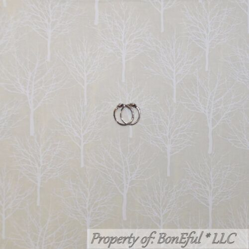 BonEful Fabric FQ Cotton Quilt Tan Cream Ivory White Winter Tree Blender Xmas Sm