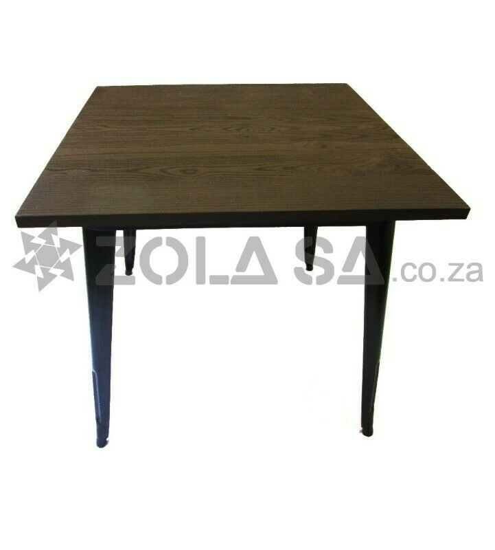 Tolix Square Cafe Table With A Wooden Top