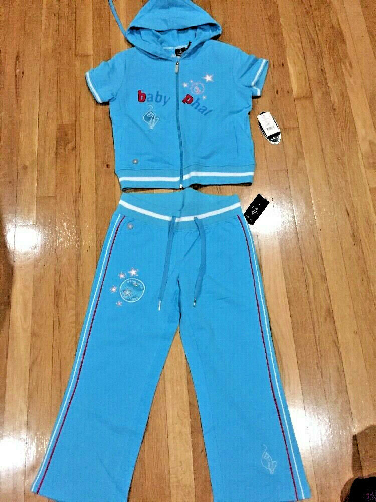 Rare Jr Baby Phat bluee Embellished 2pc Capri Sweatsuit L Hot   MSRP- NWT