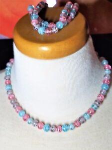 Baby-Blue-Pink-Art-Glass-Beaded-Necklace-Bracelet-Vintage-Set