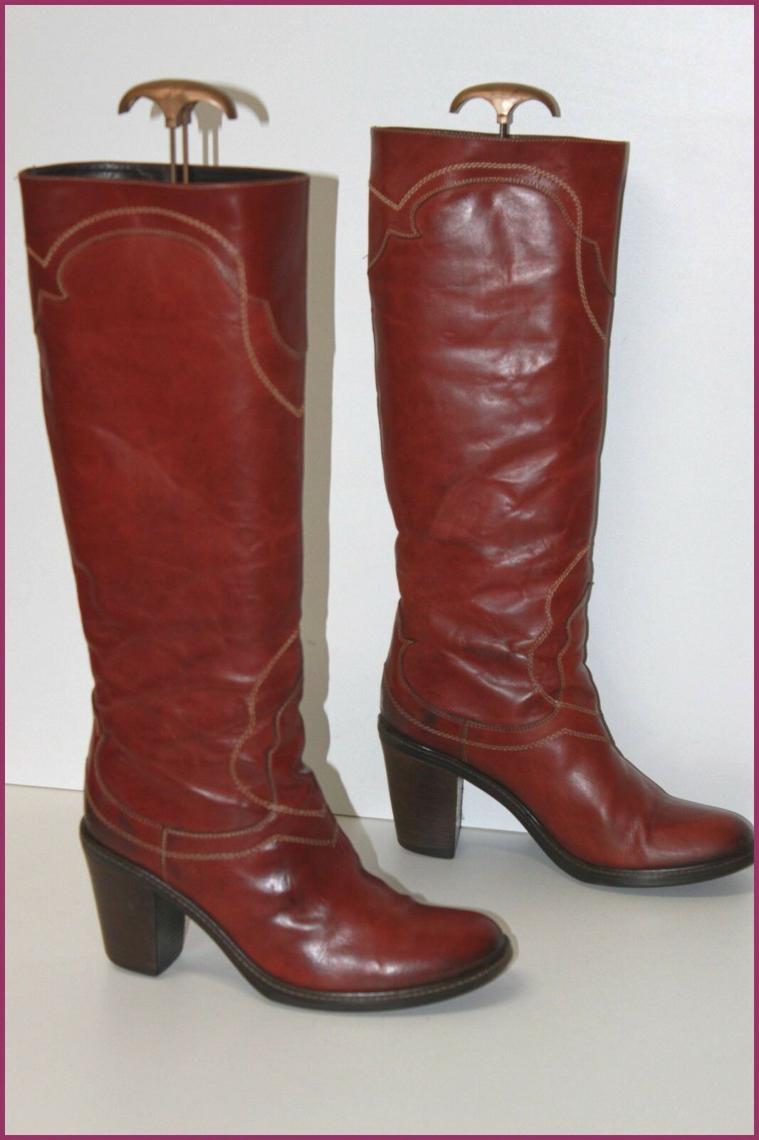 VIC DIPLOMACY Riding Boots heels Brown Leather Cognac T 39.5 VERY GOOD CONDITION