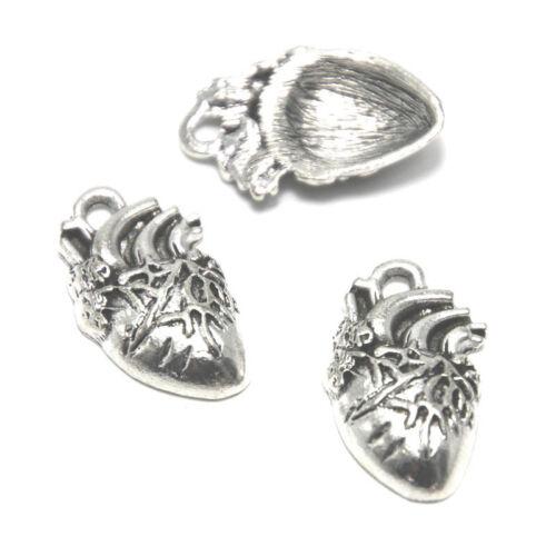 8pcs//lot Anatomical Heart Charms Silver tone human heart charm pendant 26x16x5mm