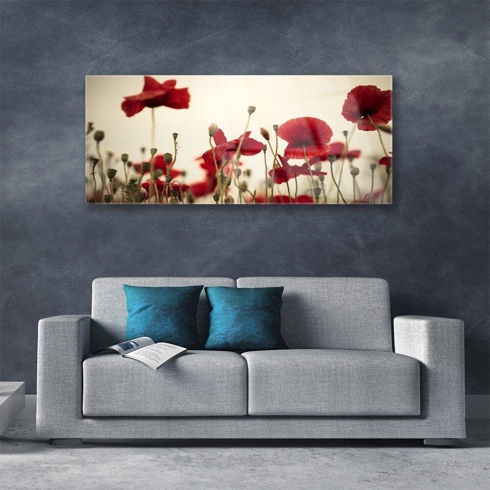 Bonnes vacances, bonne bonne vacances, action Tableau murale Impression sous verre 125x50 Floral Coquelicots 852fc7