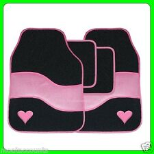 Pink & Black Velour Love Heart [SWTP10] Carpet Car Floor Mats