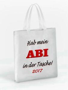 Tragetasche mit Aufdruck Hab mein ABI in der Tasche / Abitur 2017 +Wunschnamen