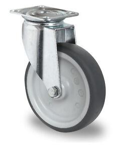 Apparatelenkro<wbr/>lle Lenkrolle Raddurchmesser Gummi 125mm Platte