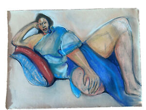 Large Weissler  Pastel Chalk Drawing Painting Reclining Woman American