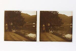 Famille Francia Foto Stereo Amateur P50L5n2 Placca Da Lente Vintage c1910