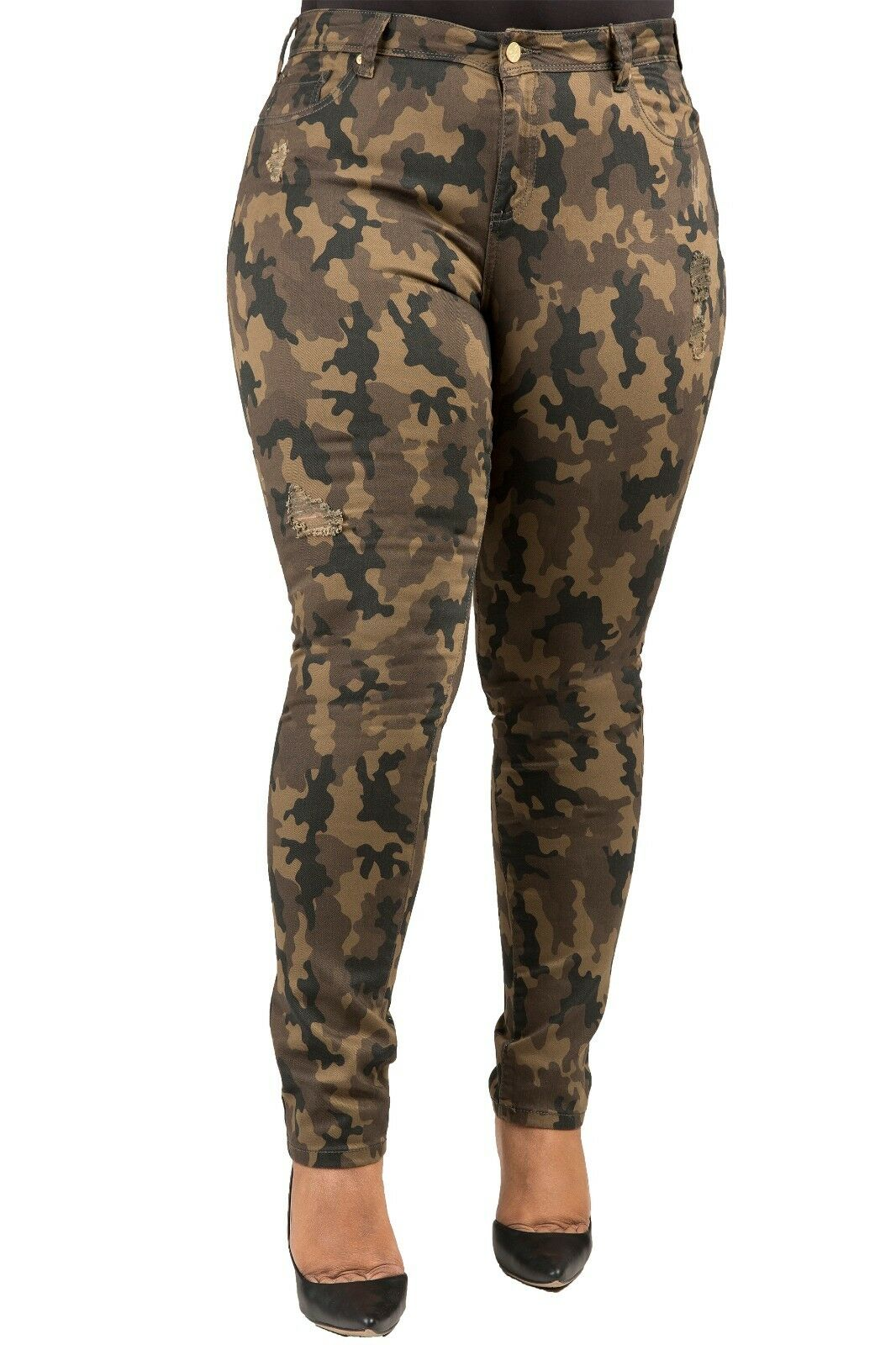 Poetic Justice Plus Size Women's Curvy Fit Camo Stretch Twill Destroyed Jeans