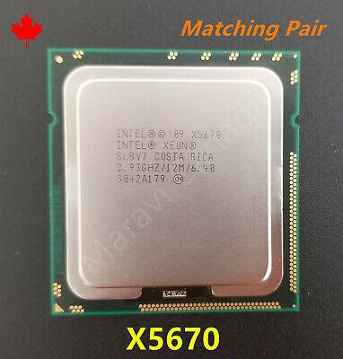 2pcs Intel Xeon X5670 SLBV7 2.93GHz 12MB 6.4GT//s LGA1366 6-Core Matched Pair CPU