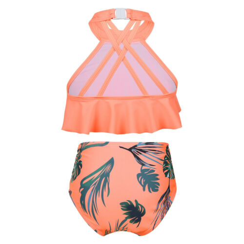 Girls Two Piece Halter Neck Bikini Swimwear Swimming Costume Swimsuit Age 2-8