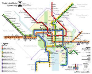 Washington Dc Subway Map Usa City View Poster Art Print Poster 36x24