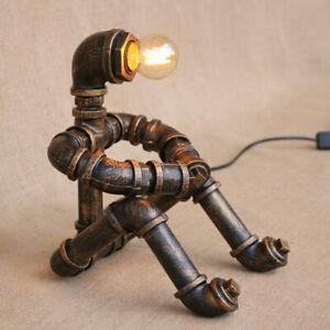 Robot Water Pipe Table Lamp Steampunk Vintage Loft Decor Industrial Desk Light