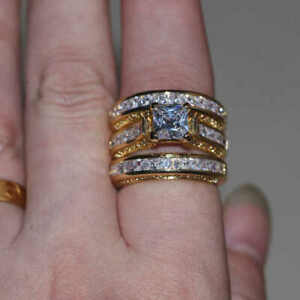 Real 10k Yellow Gold 3 Piece Engagement Ring Bridal Set 4ct Diamond Princess Cut Ebay