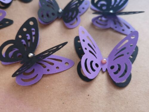 24x 3D paper butterflies Wedding Party table decorations purple and black