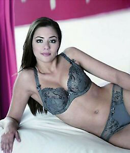 2adac14a89 Alegro 9012-A Padded Underwire Plunge Bra Jewel Embroidered Charcoal ...