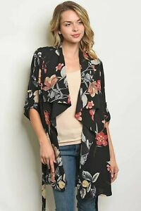 S-M-L-Women-039-s-Black-Floral-Waterfall-Loose-Kimono-Cardigan-Jacket-Belt-Long-Top