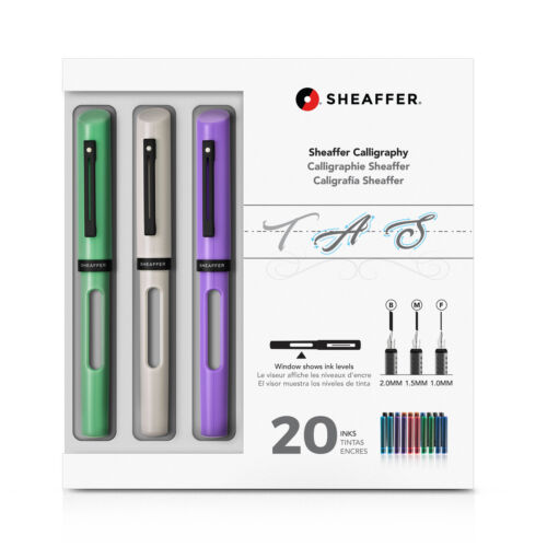 White and Lavender Pens NEW Sheaffer Calligraphy Maxi Kit with Neo-Mint
