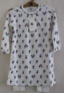 Neuf-Pyjama-chemise-de-nuit-PETIT-BATEAU-3-ans-blanc-parapluies-velours-fille