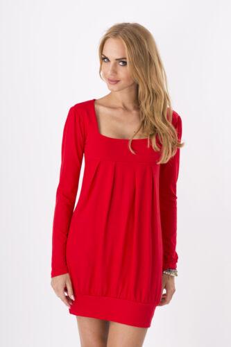 Women/'s Mini Dress Long Sleeve Square Neck Tunic Shift Dress Sizes 8-18 2534