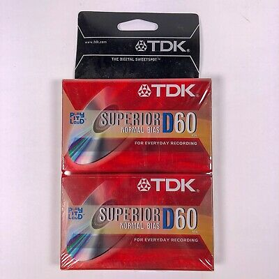 TDK D60 Blank Audio Cassette Tape Superior Normal BIAS IEC I//TYPE I 10 Pk Sealed