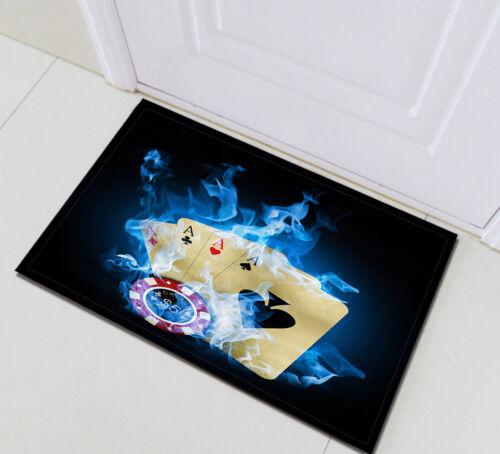 """24x16/"""" Casino Dice Poke Flame Bathroom Carpet Doormat Bath Mat Kitchen Floor Rug"""