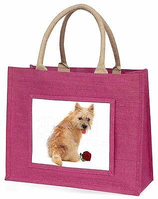 Cairn Terrier mit rotem Rose Große Rosa Einkaufstasche Weihnachten Presen,